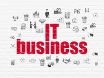 Finance concept: IT Business on wall background. Finance concept: Painted red text IT Business on White Brick wall background with  Hand Drawn Business Icons Stock Images