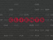 Finance concept: Clients on wall background. Finance concept: Painted red text Clients on Black Brick wall background with Currency Royalty Free Stock Image