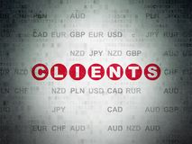 Finance concept: Clients on Digital Data Paper background. Finance concept: Painted red text Clients on Digital Data Paper background with Currency Stock Photography