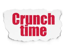 Finance concept: Crunch Time on Torn Paper background. Finance concept: Painted red text Crunch Time on Torn Paper background with  Hand Drawn Business Icons Royalty Free Stock Photography