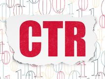 Finance concept: CTR on Torn Paper background. Finance concept: Painted red text CTR on Torn Paper background with  Binary Code Royalty Free Stock Photo