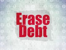 Finance concept: Erase Debt on Digital Data Paper background. Finance concept: Painted red text Erase Debt on Digital Data Paper background with  Scheme Of Stock Image