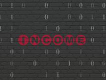 Finance concept: Income on wall background. Finance concept: Painted red text Income on Black Brick wall background with Binary Code Royalty Free Stock Photos