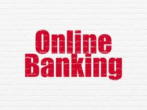 Finance concept: Online Banking on wall background. Finance concept: Painted red text Online Banking on White Brick wall background Royalty Free Stock Image