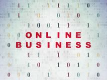 Finance concept: Online Business on Digital Data Paper background. Finance concept: Painted red text Online Business on Digital Data Paper background with Binary Stock Image