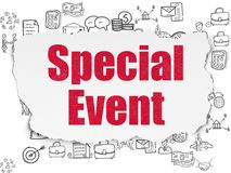 Finance concept: Special Event on Torn Paper background. Finance concept: Painted red text Special Event on Torn Paper background with  Hand Drawn Business Icons Royalty Free Stock Photos