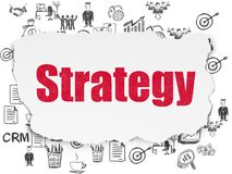 Finance concept: Strategy on Torn Paper background. Finance concept: Painted red text Strategy on Torn Paper background with  Hand Drawn Business Icons Stock Photography