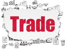 Finance concept: Trade on Torn Paper background. Finance concept: Painted red text Trade on Torn Paper background with  Hand Drawn Business Icons Royalty Free Stock Image