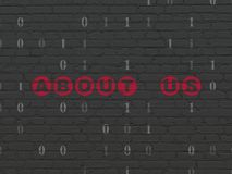 Finance concept: About us on wall background. Finance concept: Painted red text About us on Black Brick wall background with Binary Code Royalty Free Stock Image