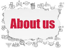 Finance concept: About us on Torn Paper background. Finance concept: Painted red text About us on Torn Paper background with  Hand Drawn Business Icons Royalty Free Stock Photography