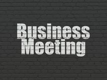 Finance concept: Business Meeting on wall background. Finance concept: Painted white text Business Meeting on Black Brick wall background Royalty Free Stock Photography