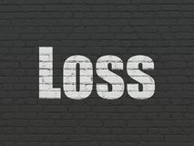 Finance concept: Loss on wall background. Finance concept: Painted white text Loss on Black Brick wall background Royalty Free Stock Image
