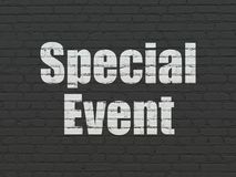 Finance concept: Special Event on wall background. Finance concept: Painted white text Special Event on Black Brick wall background Stock Photos