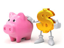 Finance concept. Piggy bank and the dollar. Piggy bank and the dollar Stock Image
