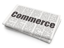 Finance concept: Commerce on Newspaper background. Finance concept: Pixelated black text Commerce on Newspaper background, 3D rendering Stock Photos