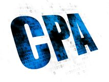 Finance concept: CPA on Digital background. Finance concept: Pixelated blue text CPA on Digital background Stock Photo