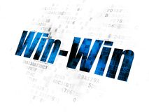 Finance concept: Win-Win on Digital background. Finance concept: Pixelated blue text Win-Win on Digital background Royalty Free Stock Photo