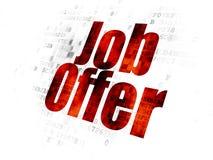 Finance concept: Job Offer on Digital background. Finance concept: Pixelated red text Job Offer on Digital background Royalty Free Stock Photos