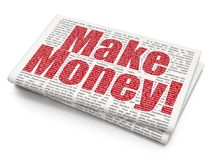 Finance concept: Make Money! on Newspaper background. Finance concept: Pixelated red text Make Money! on Newspaper background, 3D rendering Royalty Free Stock Image