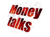 Finance concept: Money Talks on Digital background. Finance concept: Pixelated red text Money Talks on Digital background Royalty Free Stock Photo