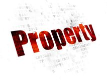 Finance concept: Property on Digital background. Finance concept: Pixelated red text Property on Digital background Royalty Free Stock Photo