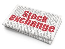 Finance concept: Stock Exchange on Newspaper background. Finance concept: Pixelated red text Stock Exchange on Newspaper background, 3D rendering Stock Image