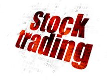 Finance concept: Stock Trading on Digital background. Finance concept: Pixelated red text Stock Trading on Digital background Royalty Free Stock Photography