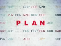 Finance concept: Plan on Digital Data Paper background. Finance concept: Painted red text Plan on Digital Data Paper background with Currency Royalty Free Stock Photography