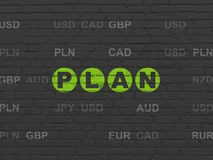 Finance concept: Plan on wall background. Finance concept: Painted green text Plan on Black Brick wall background with Currency Stock Photography