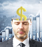 Finance concept. Portrait of handsome caucasian businessman with closed eyes and abstract dollar sign inside head on business chart background. Finance concept Stock Images