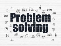 Finance concept: Problem Solving on wall background. Finance concept: Painted black text Problem Solving on White Brick wall background with  Hand Drawn Business Royalty Free Stock Photos