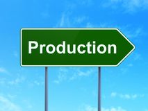 Finance concept: Production on road sign background. Finance concept: Production on green road highway sign, clear blue sky background, 3D rendering Stock Photos