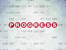 Finance concept: Progress on Digital Data Paper background. Finance concept: Painted red text Progress on Digital Data Paper background with Currency Royalty Free Stock Image