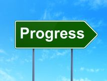 Finance concept: Progress on road sign background. Finance concept: Progress on green road highway sign, clear blue sky background, 3D rendering Stock Image