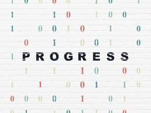 Finance concept: Progress on wall background. Finance concept: Painted black text Progress on White Brick wall background with Binary Code Royalty Free Stock Photo