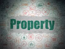 Finance concept: Property on Digital Data Paper background. Finance concept: Painted green text Property on Digital Data Paper background with  Scheme Of Hand Royalty Free Stock Photos