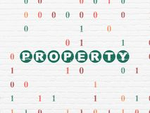 Finance concept: Property on wall background. Finance concept: Painted green text Property on White Brick wall background with Binary Code Stock Photo
