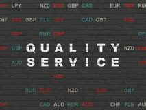 Finance concept: Quality Service on wall background. Finance concept: Painted white text Quality Service on Black Brick wall background with Currency Stock Photos