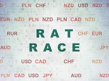 Finance concept: Rat Race on Digital Data Paper background. Finance concept: Painted green text Rat Race on Digital Data Paper background with Currency Royalty Free Stock Photos