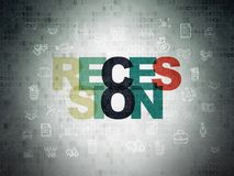Finance concept: Recession on Digital Data Paper background. Finance concept: Painted multicolor text Recession on Digital Data Paper background with  Hand Drawn Stock Image