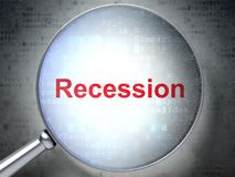Finance concept: Recession with optical glass. Finance concept: magnifying optical glass with words Recession on digital background, 3D rendering Stock Photos