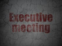 Finance concept: Executive Meeting on grunge wall background. Finance concept: Red Executive Meeting on grunge textured concrete wall background Stock Photo