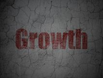 Finance concept: Growth on grunge wall background. Finance concept: Red Growth on grunge textured concrete wall background Royalty Free Stock Image