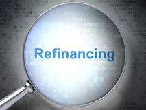 Finance concept: Refinancing with optical glass. Finance concept: magnifying optical glass with words Refinancing on digital background, 3D rendering Stock Photography