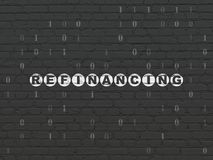 Finance concept: Refinancing on wall background. Finance concept: Painted white text Refinancing on Black Brick wall background with Binary Code Royalty Free Stock Images