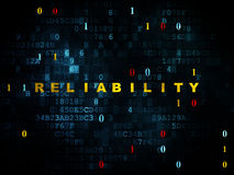 Finance concept: Reliability on Digital background. Finance concept: Pixelated yellow text Reliability on Digital wall background with Binary Code, 3d render Stock Photo