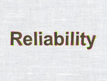 Finance concept: Reliability on fabric texture. Finance concept: CMYK Reliability on linen fabric texture background, 3d render Royalty Free Stock Photography