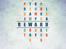 Finance concept: reward in crossword puzzle. Finance concept: painted blue word reward in solving crossword puzzle on digital data paper background Royalty Free Stock Photos