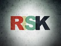 Finance concept: Risk on Digital Data Paper background. Finance concept: Painted multicolor text Risk on Digital Data Paper background Stock Images