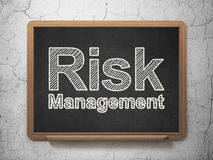 Finance concept: Risk Management on chalkboard. Finance concept: text Risk Management on Black chalkboard on grunge wall background, 3d render Royalty Free Stock Photos